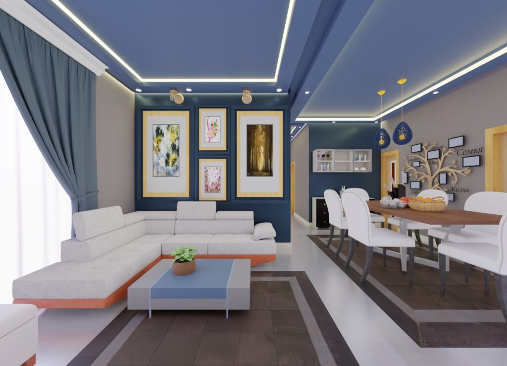 Living room and dinning area by livspace and ThemeINDIA