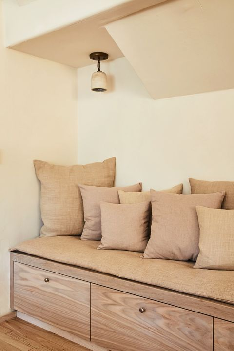 reading nook benches with neutral colors